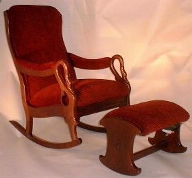 Charmant Tapestry Rocking Chair With Rocking Ottoman   Burgundy Chenille Fabric  (42228) On Burgundy Frame