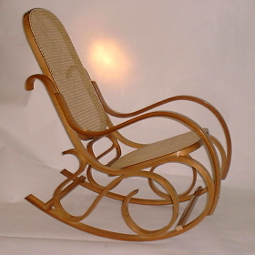 Bentwood Rocking Chair - honey oak finish, cane seat and back