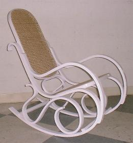 White Bentwood Rocking Chair (natural Cane Seat And Back)