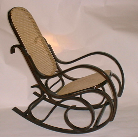 Bentwood Rocking Chair - walnut finish - cane seat and back