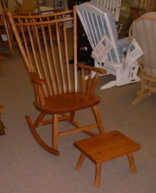 Birdcage Rocking Chair and Footstool - light cherry finish on cherry