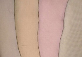 (left to right): ecru (cream), butter, pink, and sage