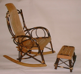 Amish Rocker With Footstool   Golden Finish